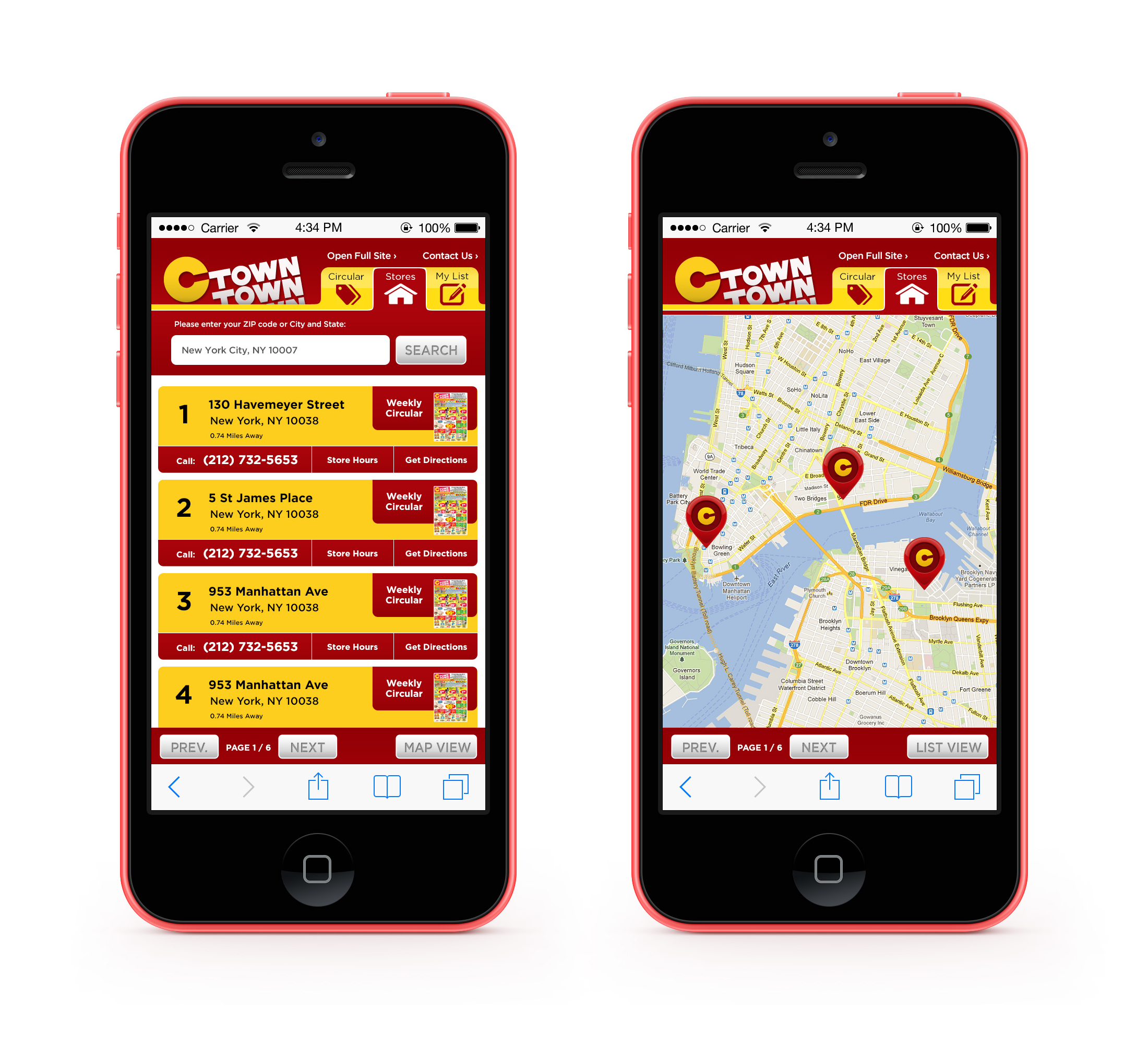 Mobile Site Map: C-Town Supermarket Mobile Site